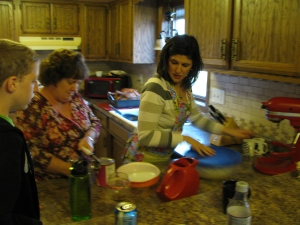 This is me in my kitchen with my mom, preparing Thanksgiving dinner. I just love aprons ... and getting to cook with my mom ... and my Kitchen Aid mixer.